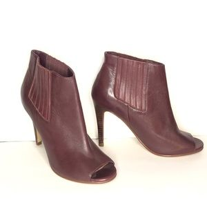 Halogen Leather Heeled Ankle Booties in Burgundy